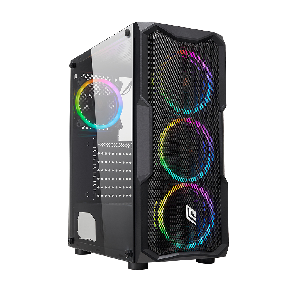 Case Atx Noua Smash S1 Black 0.45MM SPCC 3*USB3.0/2.0 4*Fan Dual Halo Rgb Rainbow Addressable Front Mesh Side Glass