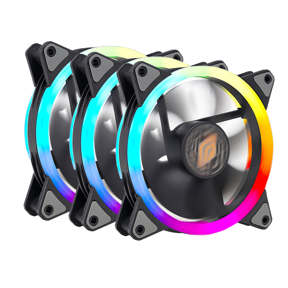 Ventola Noua Lips 3 Black (Kit 3pcs con Controller) 1200Rpm PWM 16 Led Dual Halo RGB Rainbow Addressable 120x120x25mm Antivibration